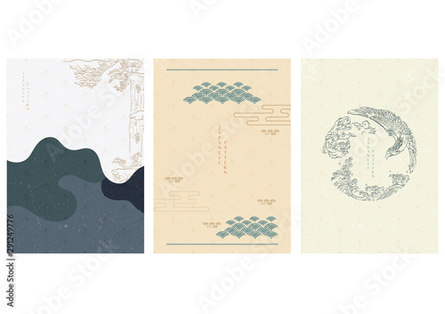 Stampa su Tela  Japanese template with hand drawn Asian traditional elements