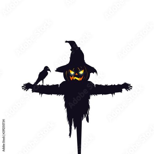 Obraz na plátně scarecrow halloween with raven isolated icon
