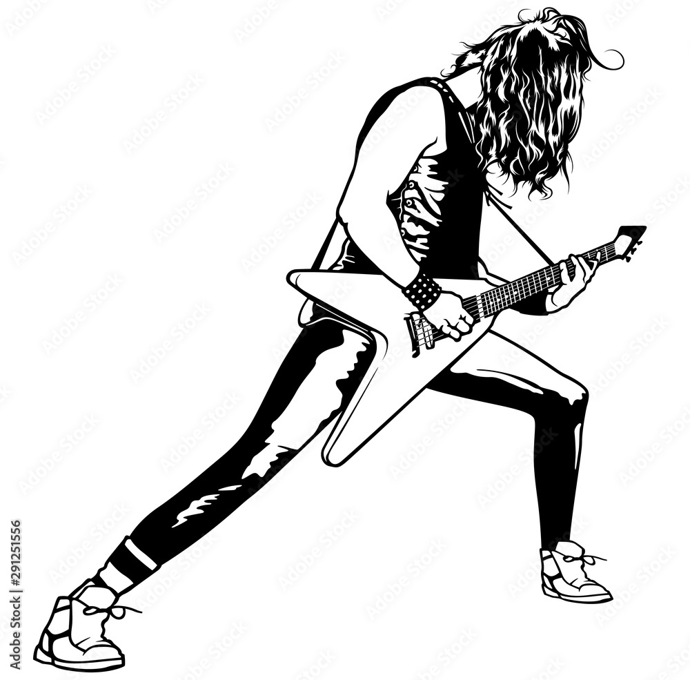 Fototapety, obrazy: The Hard Rock Guitarist Plays Solo - Black and White Drawing Illustration with Musician, Vector Graphic