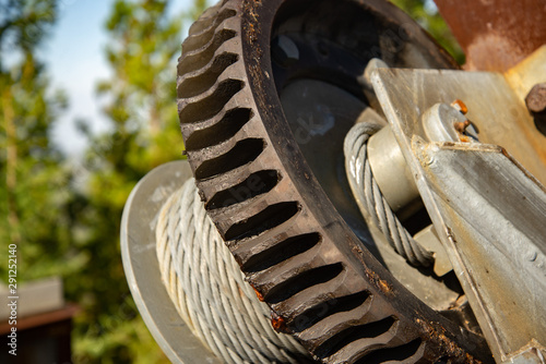 Steel cable and winch Fototapeta
