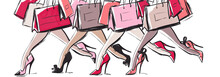 Female Legs On High Heeled Shoes With Bags, Shopping Concept, Fashion Illustration