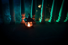 Retro Style Lantern At Night. Beautiful Colorful Illuminated Lamp At The Balcony In The Garden.