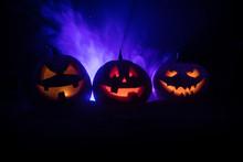 Group Of Halloween Jack O Lant...