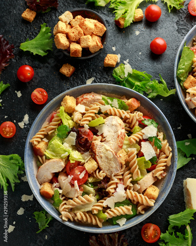 Cadres-photo bureau Fleur Caesar Salad Pasta with chicken, tomato, parmesan cheese and vegetables