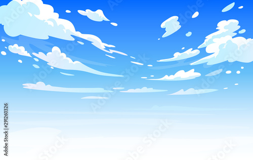 Deurstickers Blauw Vector day landscape sky clouds.Anime clean style. Background design