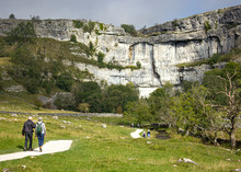 The Approach To The Spectacular Limestone Cliffs Of Malham Cove, One Of The Most Popular Hiking Spots In The Yorkshire Dales