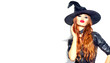 Leinwandbild Motiv Halloween Sexy Girl wearing witch costume with a hat. Party, Celebrating. Beauty Woman with long red hair and holiday bright make-up isolated on white background. Leather dress