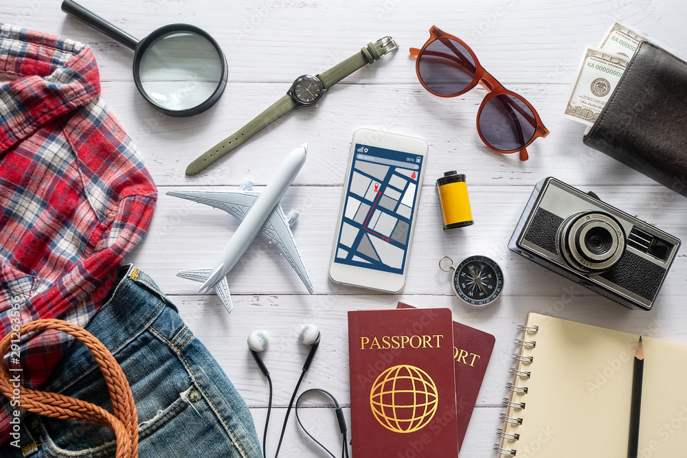 Fototapety, obrazy: flat lay of travel item accessory, essential vacation items accessory. travel concept background