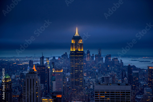 Spoed Foto op Canvas New York Newyork city at night, New York, United Staes of America