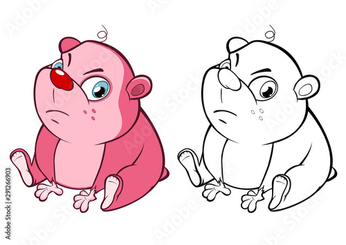 Poster Babykamer Vector Illustration of a Cute Cartoon Character Guinea Pig for you Design and Computer Game. Coloring Book