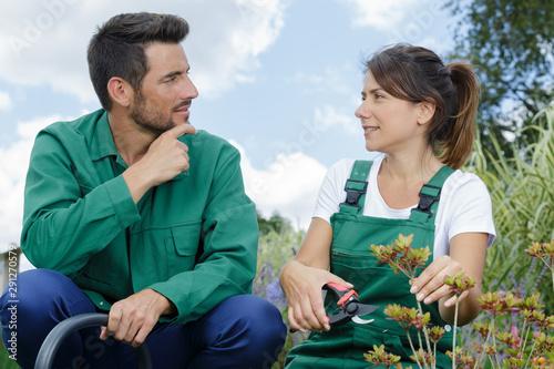 Photo sur Toile Oiseaux sur arbre young gardening couple using secateurs