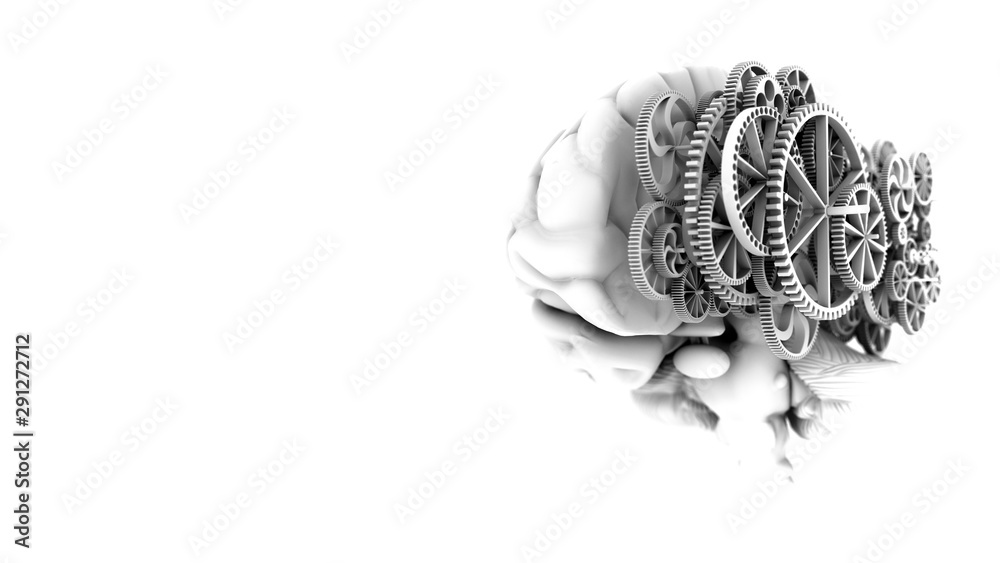 Fototapeta 3D Model brain look real shape mix gold gears on black and white color style with 3d rendering.