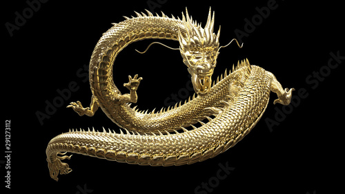 The gold dragon in smart pose with 3d rendering. Fototapet