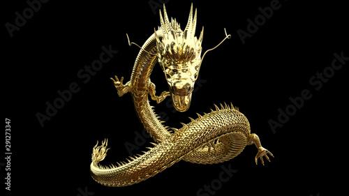 Carta da parati  Gold dragon post with 3D rendering.