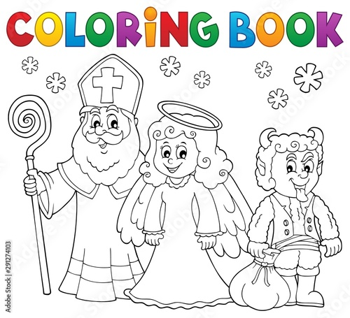 Foto op Canvas Voor kinderen Coloring book Saint Nicholas Day theme 3