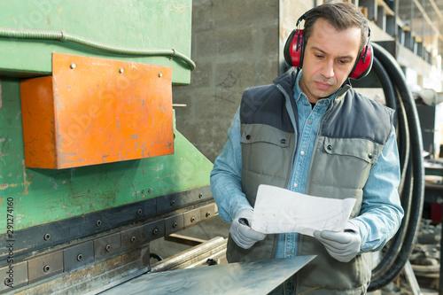 Stampa su Tela  happy industry worker working in plant