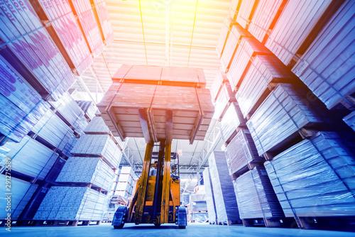 Forklift loader in storage warehouse ship yard Fototapet