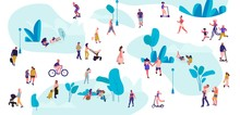 People In Park. Trendy Crowd Walking, Flat Men And Women On Picnic Doing Yoga And Summer Exercises. Vector Illustrations Outdoor Diverse Activities And Leisure With Pets Set