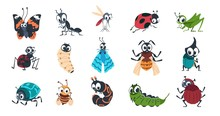 Cute Insects. Cartoon Funny Colorful Bugs Bees Hornet Butterfly Caterpillar Spider With Cute Faces For Vector Children Illustration. Vector Illustration Clipart Wild Insect With Wings And Caterpillar
