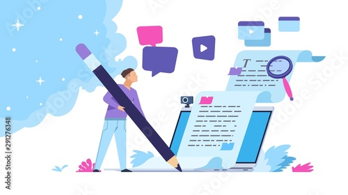 Obraz Content writer. Blog articles creation concept with people characters, freelance work business and marketing. Vector illustration creative online blog image with pencil and essays - fototapety do salonu