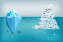 Comparing Plastic Garbage In The Ocean As Wide As Huge Iceberg Size.