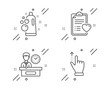 Clean bubbles, Patient history and Presentation time line icons set. Touchscreen gesture sign. Laundry shampoo, Medical survey, Report. Slide up. Business set. Line clean bubbles outline icon. Vector