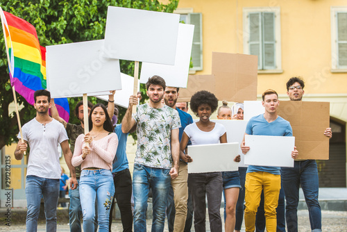 Activists demonstrating against social issues Canvas-taulu