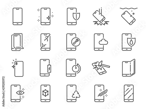 Stampa su Tela Smartphone protection line icon set