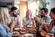 canvas print picture - Friends have lunch at home