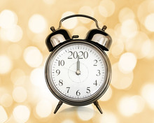 2020 Written On A Vintage Alarm Clock, Bokeh Lights Background, Happy New Year Eve Party Time And Midnight Countdown Celebration Concept