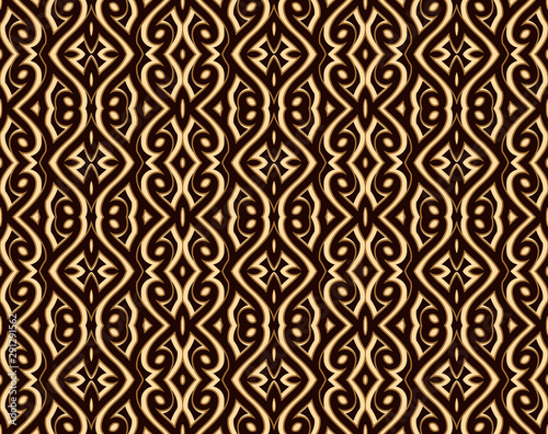 Cuadros en Lienzo  Vintage gold background with engraved geometric ornament, ornate brocade texture