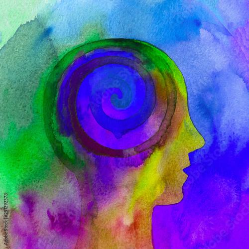 Spoed Foto op Canvas Spiraal Dipinto acquerello bello mente umana spirale psiche