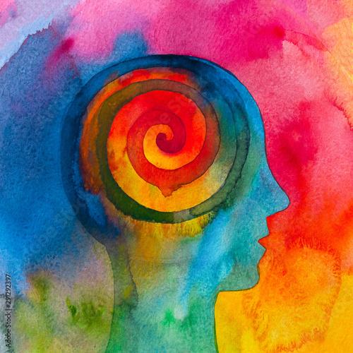 Disegno grafico meditazione energia spirituale Canvas Print