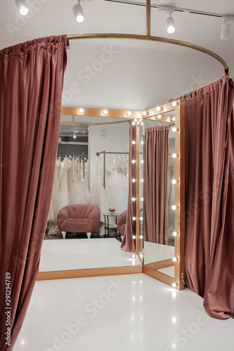 Canvas fashion boutique interior, fitting room in the wedding salon