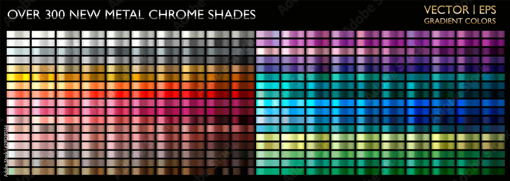 Fototapety, obrazy: Metal gradient color set. Chrome texture surface background template for screen, mobile, digital, web. Metallic and chromium shade combination. Gold, silver, bronze colorful palette collection.