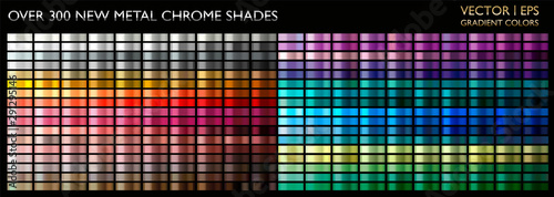 Obraz Metal gradient color set. Chrome texture surface background template for screen, mobile, digital, web. Metallic and chromium shade combination. Gold, silver, bronze colorful palette collection. - fototapety do salonu