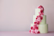 canvas print picture - Tiered wedding cake with sugarpaste roses