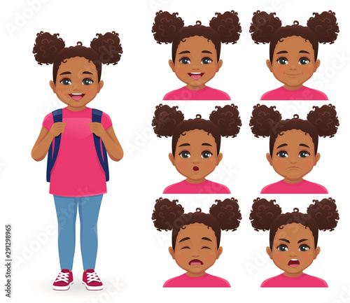 School girl with backpack emotions set isolated vector illustration Wallpaper Mural