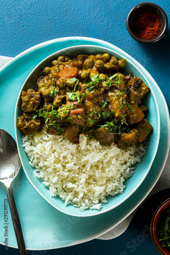 Fényképezés vegetable curry with pumpkin and mushrooms