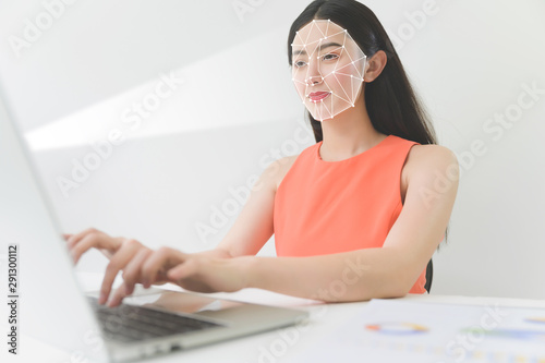 Photo Biometric facial recognition on computer laptop