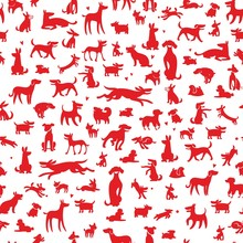 Dogs Silhouettes Background