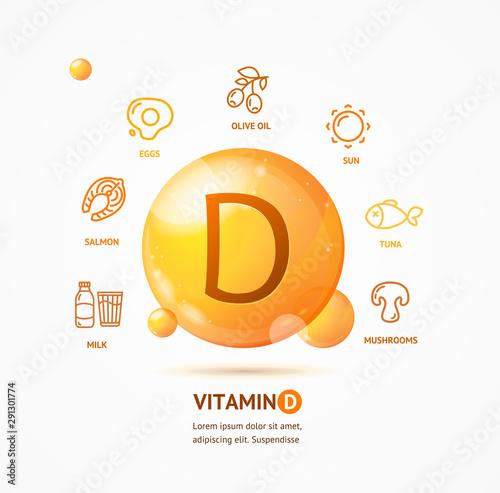 Obraz na płótnie Realistic Detailed 3d Vitamin D Card Concept. Vector