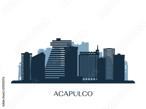 Acapulco skyline, monochrome silhouette. Vector illustration. Fototapeta