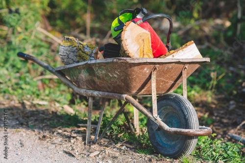 Fotografija wheel barrow with fire wood and lumberjack equipment .