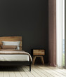 Leinwanddruck Bild - Modern bedroom interior design idea concept and black wall texture background