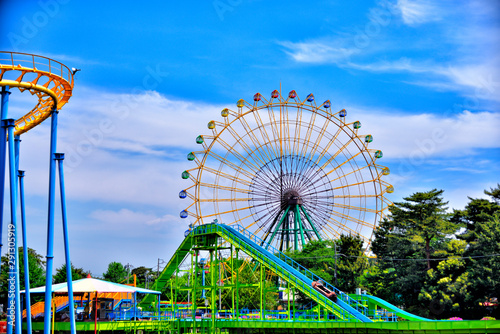 Wall Murals Amusement Park Ferris wheel in Isesaki-city, Japan.