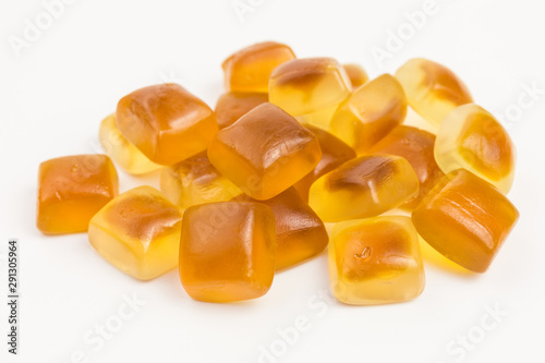 Obraz na plátně  heap of brown and white sweet gummy candy