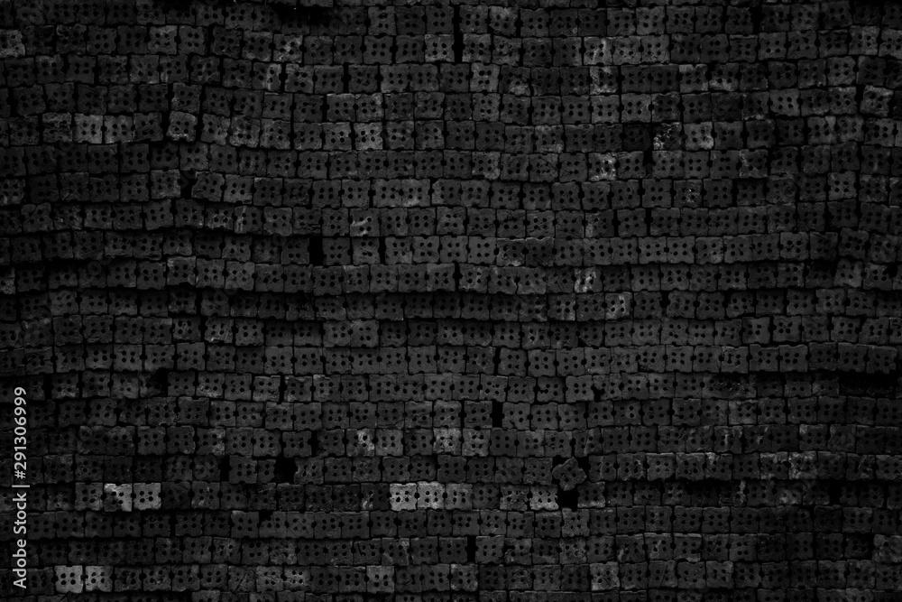 Fototapeta Black brick wall texture for background.