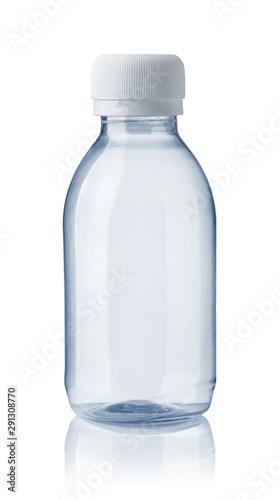 Front view of empty plastic clear bottle Fototapet