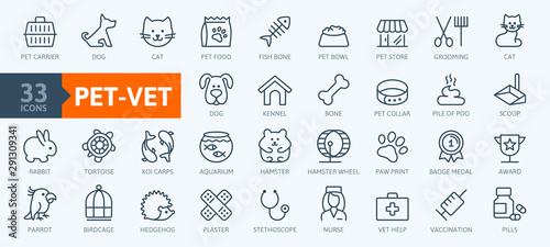 Valokuva Pet, vet, pet shop, types of pets - minimal thin line web icon set